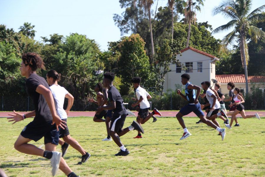 During an intense workout on the field, the track and field members sprint and test their competitiveness to improve for their meet on Saturday.