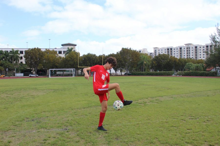 Captain Manuel Nunez shows off his juggling skills.