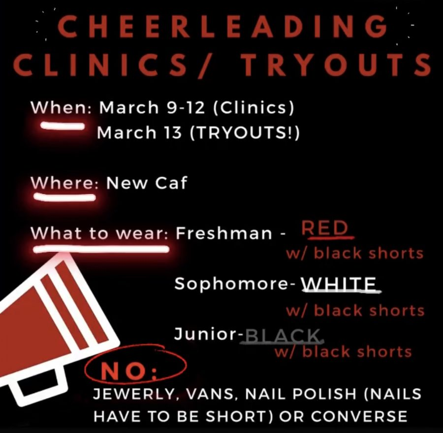 This informational flyer was posted all over social media to inform possible cheerleading candidates about the upcoming tryout dates.