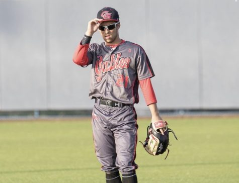 Junior Andres Arzola plays the field against the Keys Gate Knights, as he looks to lead the Cavaliers during the 2020 spring baseball season with his passion for the sport.