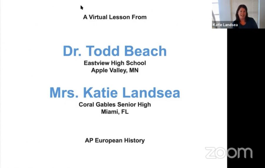 Mrs.+Landsea%2C+along+with+Dr.+Beach%2C+hosts+an+AP+European+History+lecture+daily+for+students+nationwide.