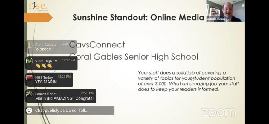 A screenshot of when Cavsconnect was awarded Sunshine Standout for the first time in years from FSPA's youtube live.