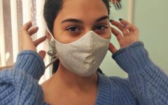 Stephanie Duque wearing one of her first masks she made.