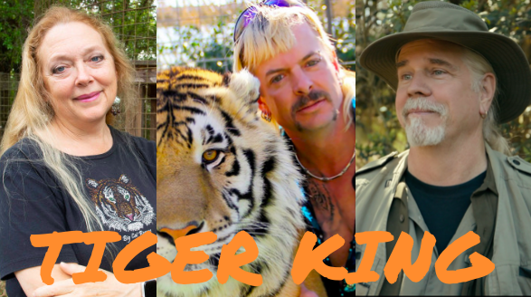 Featured above are the stars of the documentary Tiger King: Murder Mayhem and Madness. From left to right there is Carole Baskin, Joe Exotic and Bhagavad Antle.