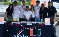 Alumni Albany Muria (far left) with some classmates and administrators, on the National Voter Registration Day.