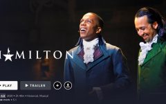 Leslie Odom Jr. as Aaron Burr (left) and Lin-Manuel Miranda as Alexander Hamilton (right) in the Disney+ film,