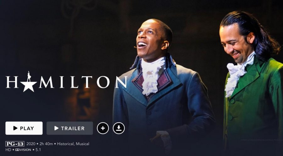 "Leslie Odom Jr. as Aaron Burr (left) and Lin-Manuel Miranda as Alexander Hamilton (right) in the Disney+ film, ""Hamilton"""