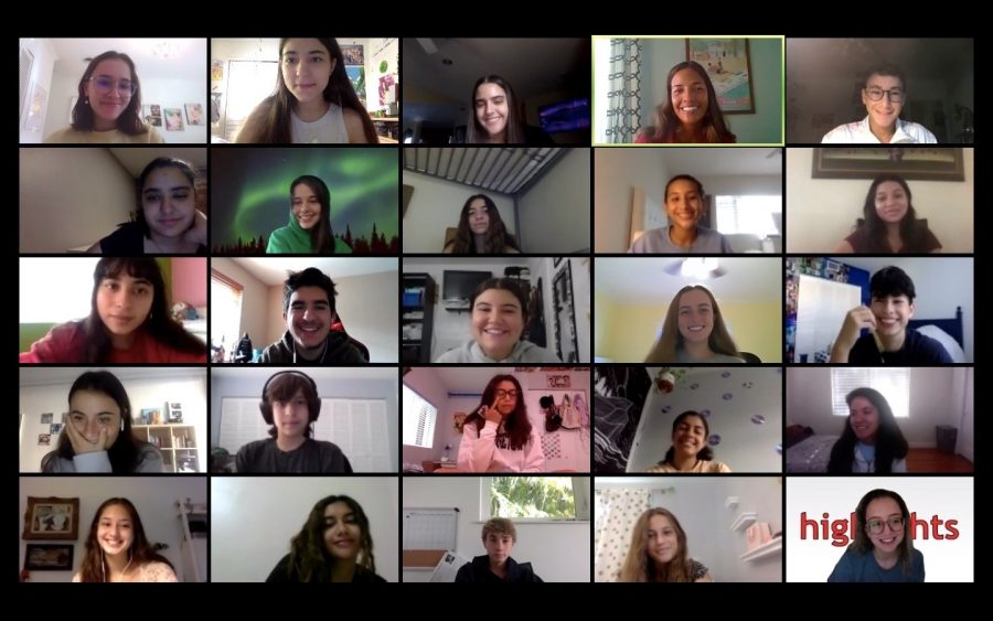 Virtual summer production week began Monday, August 10 for the Highlights staff via zoom. They are training in their staff on how to write for each section, of their magazine, photography, ethics and more. They are also working on their first issue of the school year.