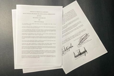 "Picture of the ""Abraham Accords Peace Agreement"" depicting the signatures of the diplomats. Including Prime Minister Benjamin Netanyahu, Adullah bin Zayed Al Nahyan, and President Donald Trump."