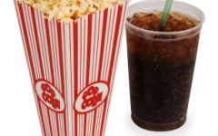 Popcorn, soda, & tickets isolated on white with clipping path