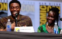 Boseman is pictured smiling with one of his co-stars, Lupita Nyong'o, at the San Diego Comic-Con, before his sudden passing shocked fans.