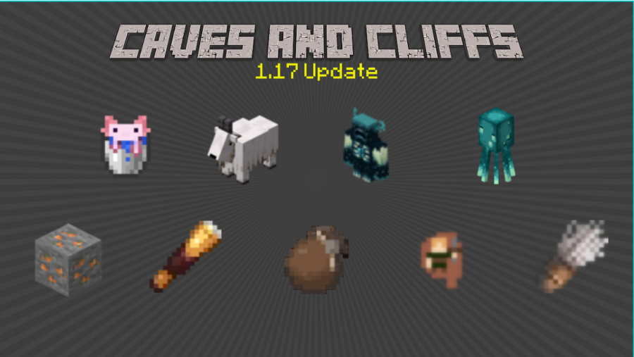 New mobs (top row) and items (bottom row) were added to Minecraft
