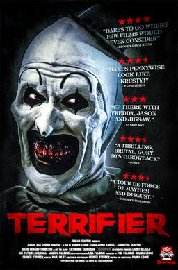 """""""Terrifier"""" movie poster spooks viewers with a look at Art, the homicidal clown."""
