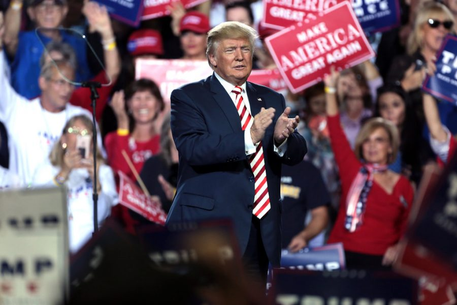 Donald Trump speaking with supporters at a campaign rally at the Prescott Valley Event Center in Prescott Valley, Arizona.