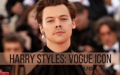Harry Styles becomes a Vogue Icon as well as the first man to be featured solo on the Vogue Cover with an original outfit.