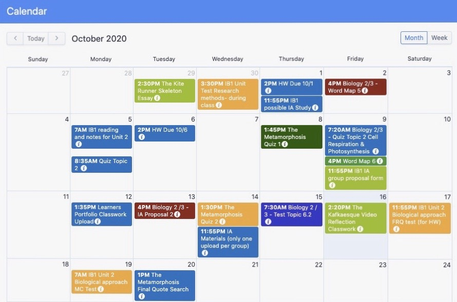 Managebac is one of the main platforms IB students use to stay organized. October is the start of IAs and EEs.