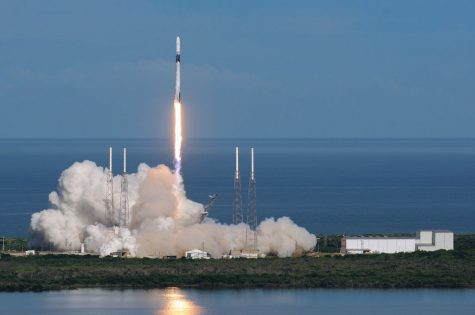 Space X's rocket, Falcon 9, launches from Cape Canaveral.