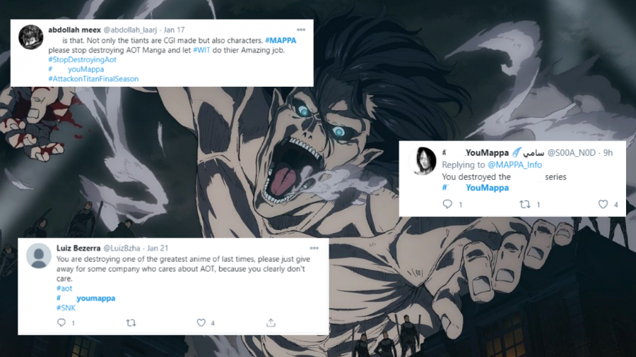 Fans harass Attack on Titan animators over Twitter after recent episodes.