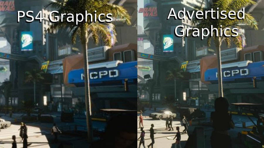 Graphics of Cyberpunk 2077 on consoles such as the PS4 compared to the advertised graphics presented at E3.