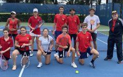 The Coral Gables tennis team get ready for their first match of the season against Miami Beach High.
