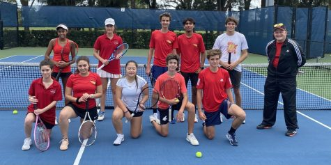 The Coral Gables tennis team get ready for their first match of the season against Miami Beach High.