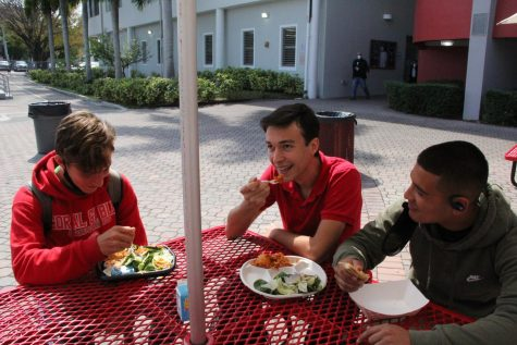 A group of sophomore boys converse while enjoying the school lunch. Their plates are filled with chicken tenders, spaghetti and cheese sticks.