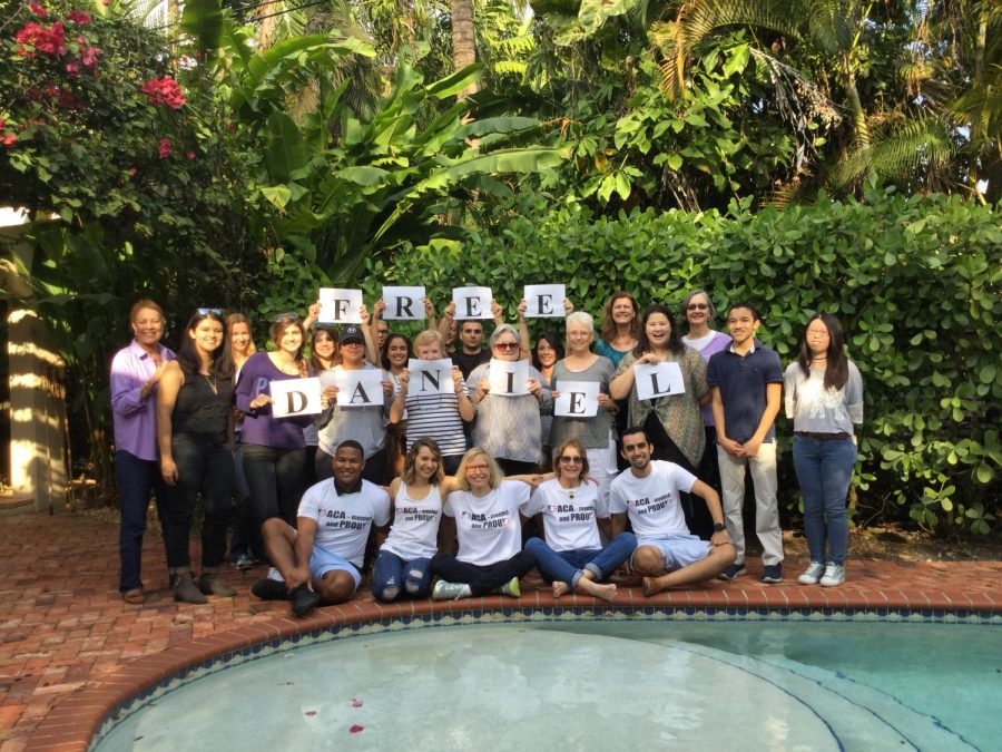 Gables alumna Monica Lazaro started the #HereToStay postcard campaign to fight back against former president Donald Trump's promises to repeal DACA. She is pictured in the bottom row at one of her postcard parties.