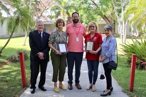 The Coral Gables Rotary Club presented Ms. Yanes with an award dedicated to her years of service to the students and staff of the high school.
