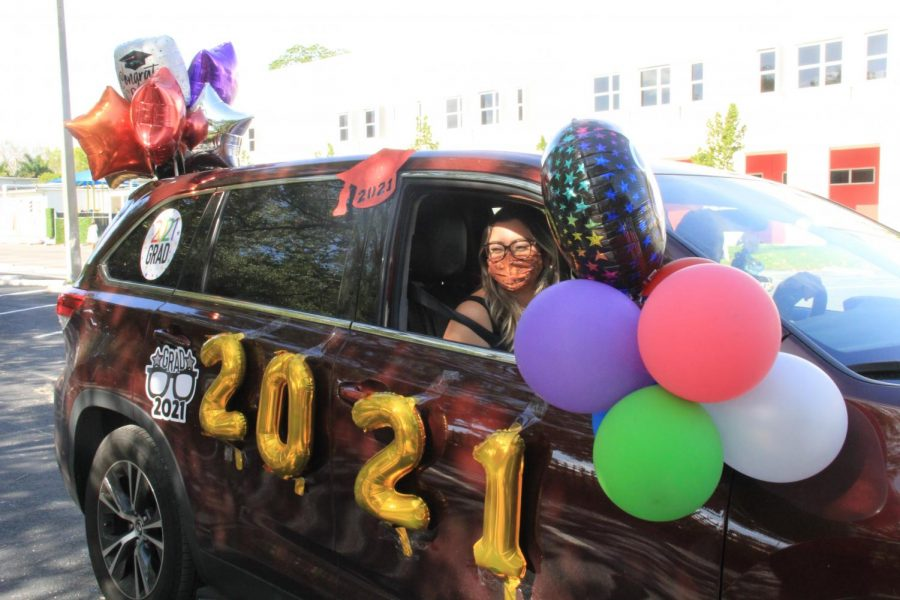 Seniors showed their school spirit by decorating their cars for this year's Senior Event celebrating their graduation.