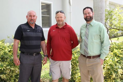 Mr. Welsh, pictured with Athletic Director Mr. Romero (left) and Principal Ullivari (right), after receiving news of Head Coach title.