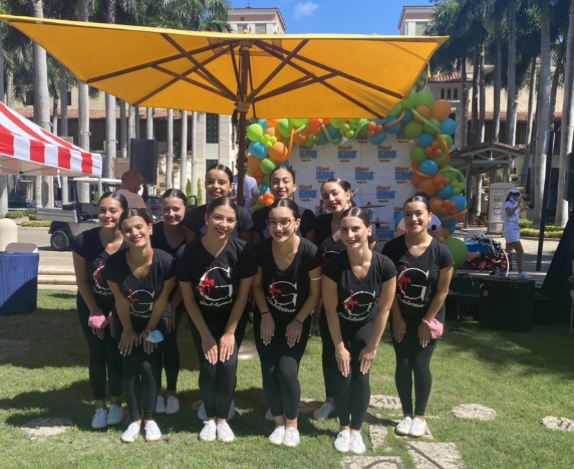 The Gablettes pose for a photo where they performed for Miami Kids Magazines Back to school Event at Merrick Park.