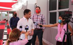 Superintendent Carvalho visits Gables to assess readiness for the return of all students to in-person classes. The local press was there to interview him about his position on subjects such as the MDCPS mask mandate.