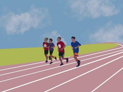 The boys varsity cross country team doing their cool-down jog on the Coral Gables Senior High track.