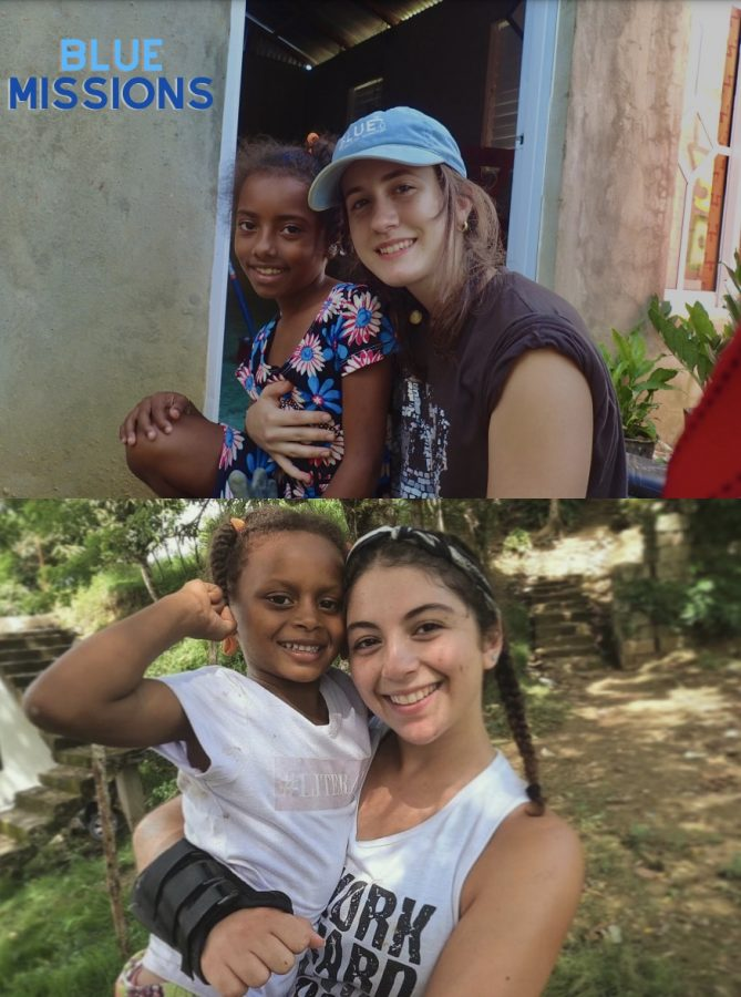 Ariadna Torres (top) and Jana Faour (bottom) enjoy their time with Blue Missions by giving back to the community in the Dominican Republic.