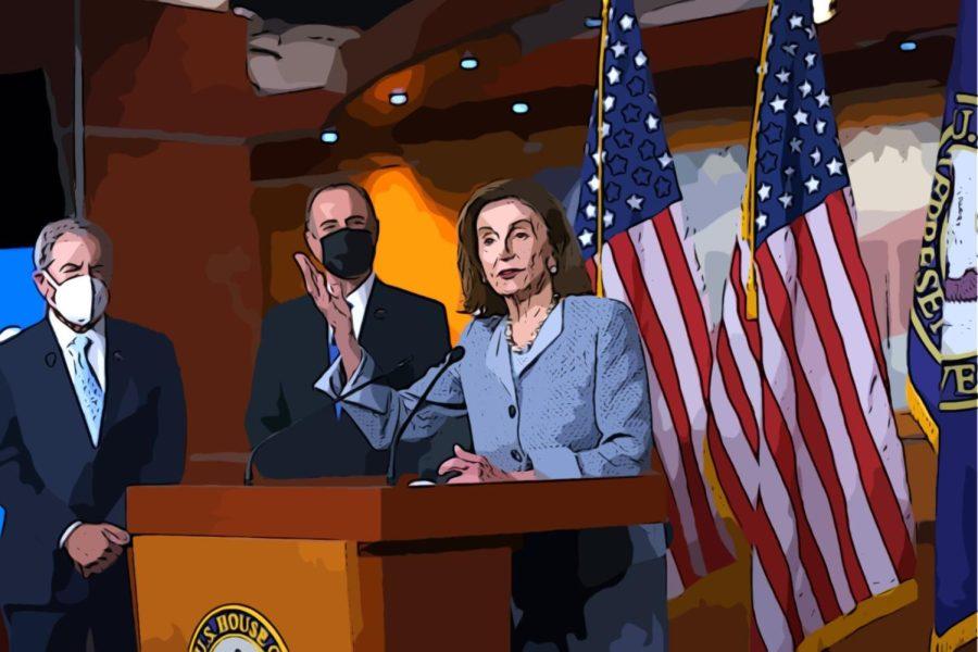House Speaker Nancy Pelosi, California Representative Adam Schiffer and Kentucky Representative John Yarmuth discussing the Protecting Our Democracy Act.