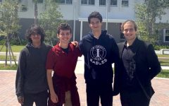 The four National Merit Scholarship Program semifinalists, Jared OSullivan, Gabriel Wagner, Bernardo Andrade and Julian Mesa (left to right), stand together as they share their achievements.