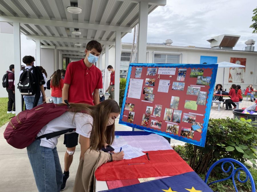 Students sign up for clubs through Google Docs or by sharing their information on written forms such as the one created by the French Honor Society.